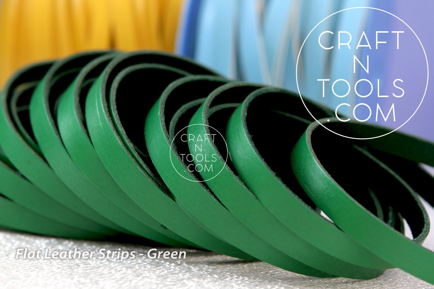 Bright Green 10mm Flat Leather Choose Your Length L10F-33